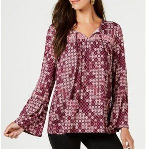 STYLE & CO Printed Embroidered Peasant Top